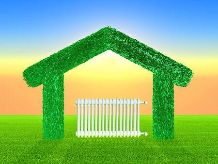 domicile: a radiator inside a green home Stock Photo