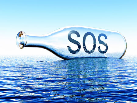 sos message inside a bottle on the sea