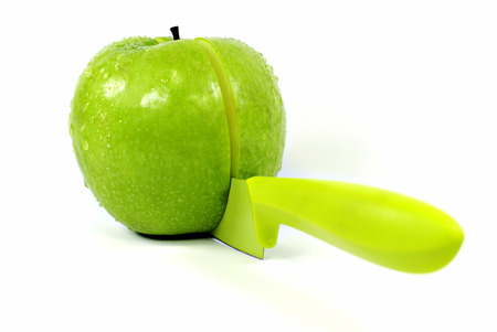 pectin: Sharing an apple with a knife  Stock Photo
