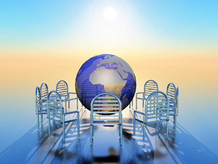 nato summit: a circle of chairs with a globe in the middle
