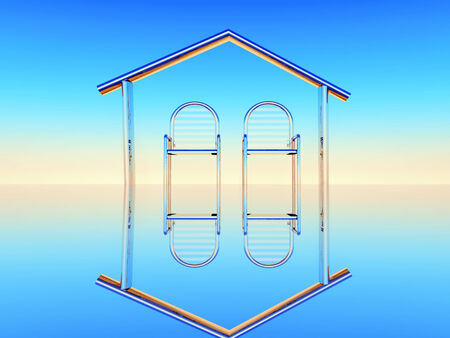 domicile: design illustration of home,two metal chairs inside  a home shape