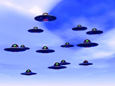 invasion: science fiction illustration,ufo invasion