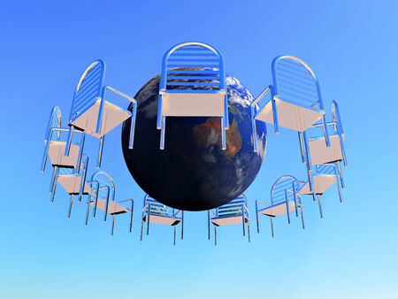 a circle of chairs with the planet earth in the middle photo