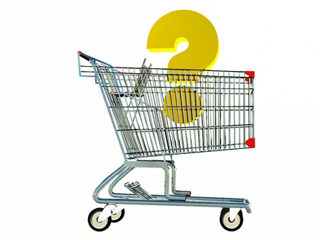 interrogation point: shopping cart with a question mark symbol inside Stock Photo