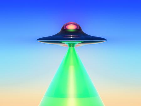 disco volante: fantascienza illustrazione, un disco volante genera un lampo verde