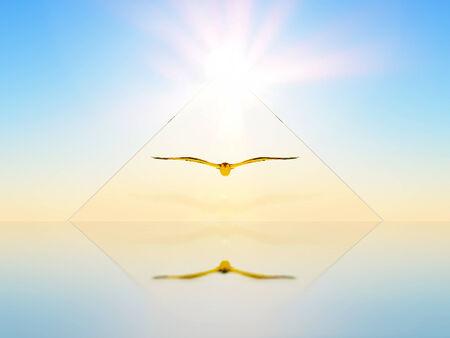 ein Vogel in einer dreieckigen Form