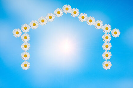 a home shape made in daisies flower,with the sunlight inside Stock Photo
