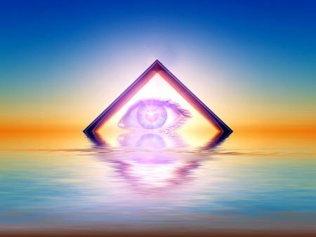 een driehoek met een oog binnen Stockfoto