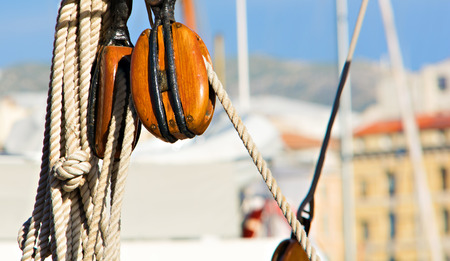 pulley: wooden pulley equipping an old sailboat
