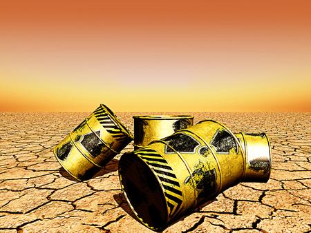 radioactive waste: illustration barrels of radioactive waste