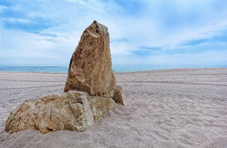 costal: a stone surrounded by sand on the beach
