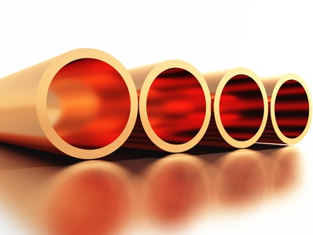 copper wire: four copper pipes made in 3D Stock Photo