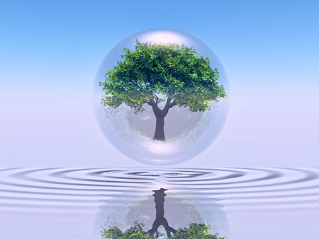 a tree inside a bubble over water Stock Photo