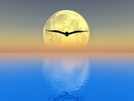 notional: bird flying over the sea on full moon background