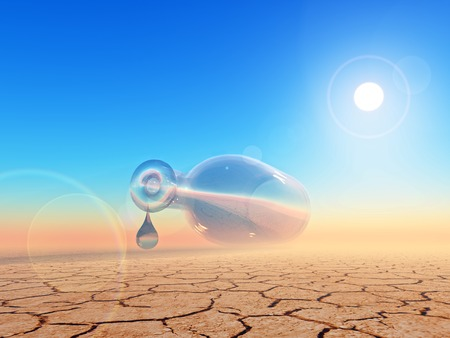 desertification: empty bottle  and one drop of water in the desert Stock Photo