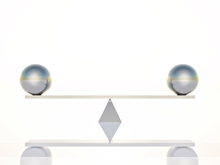 two silver spheres balanced on a seesaw