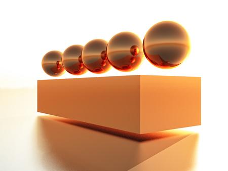tridimensional: copper sphere on a copper bar