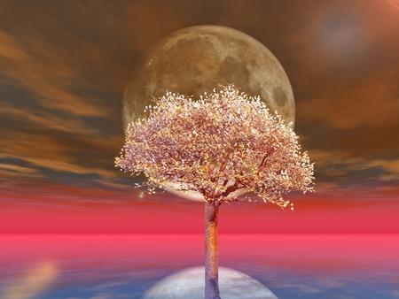 zen like: cherries tree on full moon background  Stock Photo