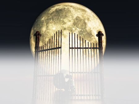 moon gate: opened rusty gate on full moon background