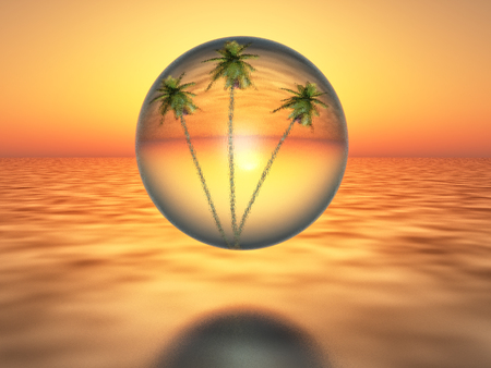 oasis at sunrise: palm trees inside a bubble over the desert, on sunset background