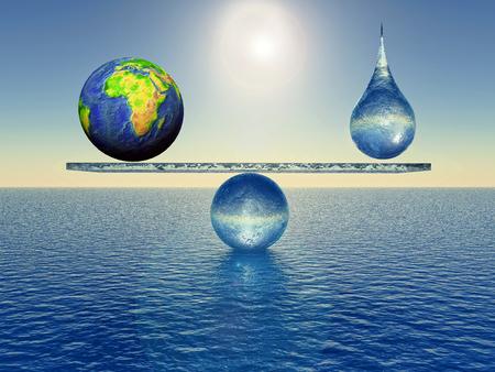 aarde in balans met een druppel water