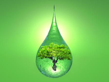 een boom in een druppel water op groene achtergrond