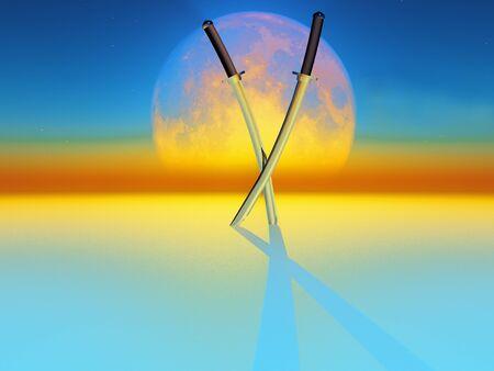 ninja ancient: two katana sword on full moon background