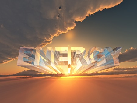 3 d: the word energy in 3 D letters on sunset background