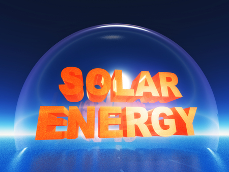 glass dome: the word solar energy inside a glass dome Stock Photo