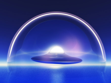 invader: alien spaceship inside a glass dome Stock Photo