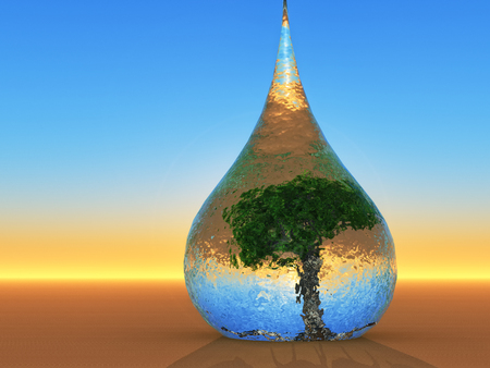 biosphere: a drop for environmental preservation Stock Photo