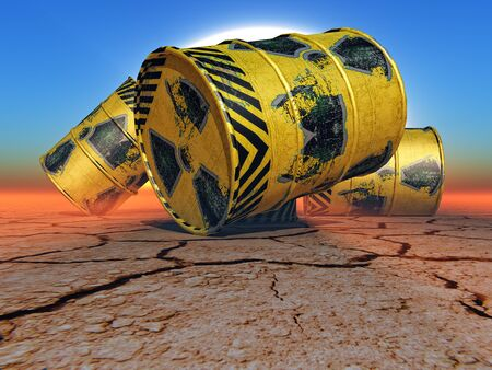 radioactive: barrels of radioactive waste in the desert