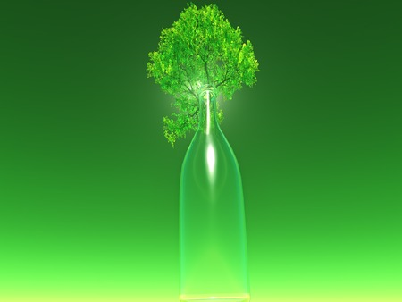 glass recycling: a tree inside a glass bottle, idea about glass recycling