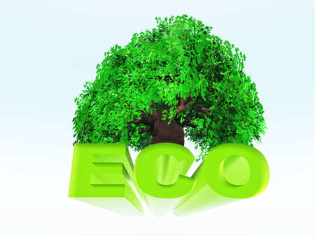 frendly: the word eco in green colors on tree background