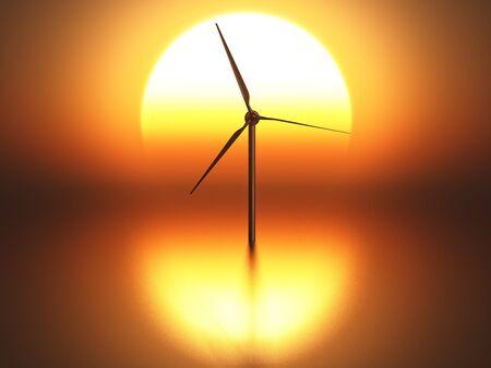 powe: isolated wind turbine on sunset background
