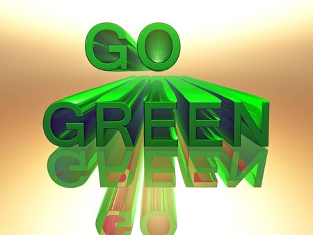 3 d: the word go green in 3 D letters and green color Stock Photo