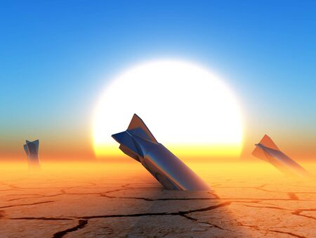 nuclear bomb: 3D rendering,nuclear missiles stuck in the ground of the desert