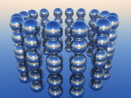 blue spheres in 3d rendering