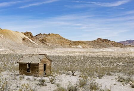 Wooden hut abandoned in the desert