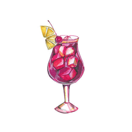 watercolor illustration of a red cocktail in a glass beaker, alcoholic drink