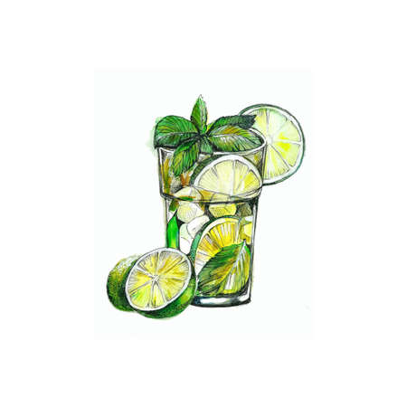 watercolor illustration of mojito cocktail