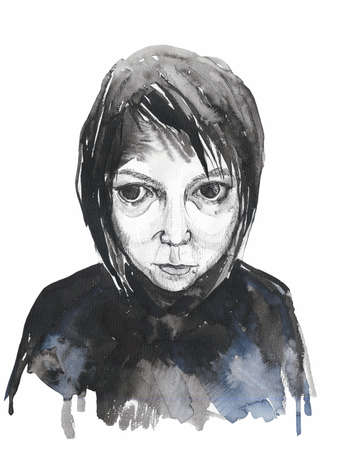 illustration of a sad girl in black clothes on a white background Stok Fotoğraf