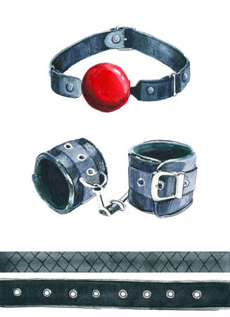 gag with red ball on white background, leather handcuffs, set 写真素材