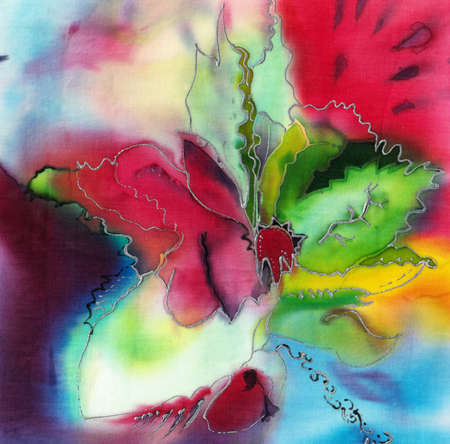 abstract flower illustration in bright colors