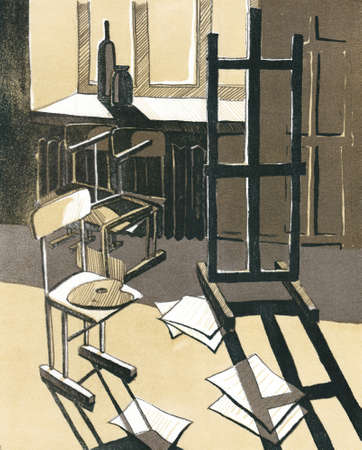 artists studio, room with an easel, chair, lithograph