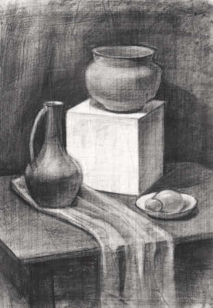 black and white still life with a clay pot