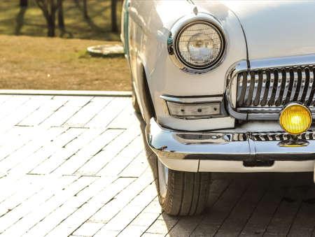 white retro car, with chrome bumper Stock Photo