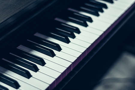 piano keys, focus on 1 object, musical instrument