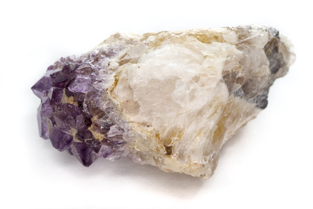 amethyst rough: Purple amethyst stone isolated on white (as rough amethyst crystals)