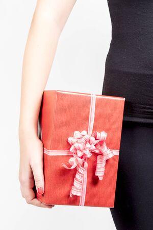 Close-up of girl holding big giftbox